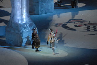 One of the four welcomes delivered by the First Nations representatives 2010 Opening Ceremonies - First Nations welcoming.jpg