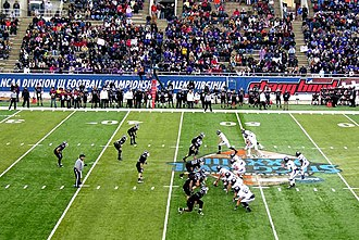 NCAA Division III Football Championship - 50-yard line action at the 2010 Stagg Bowl