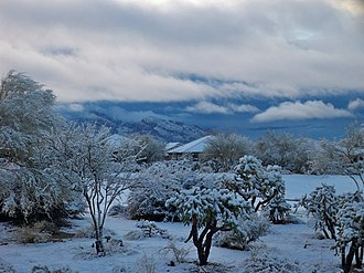 Oro Valley, Arizona - Oro Valley snowfall in 2011. The Santa Catalina Mountains are in the background.