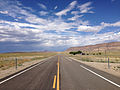 2014-07-18 15 58 08 View east along U.S. Route 6 about 65.5 miles east of the Esmeralda County Line in Nye County, Nevada.JPG