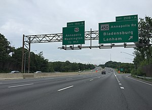 Interstate 595 (Maryland) - Signs along the Capital Beltway included space for I-595 signs, but they were never put up