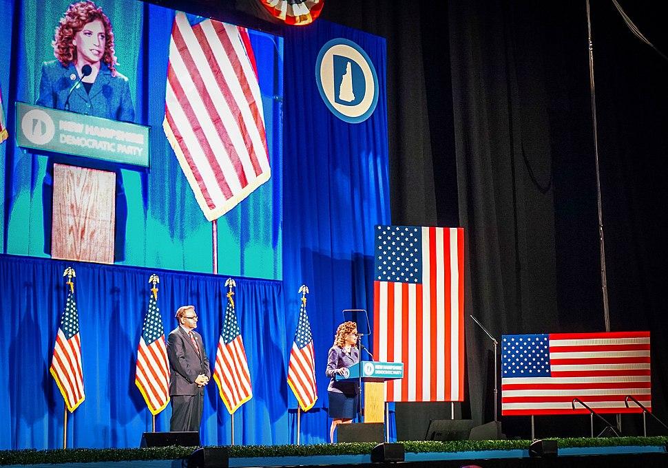 Image of Debbie Wasserman Schultz speaking at Democratic national Convention.