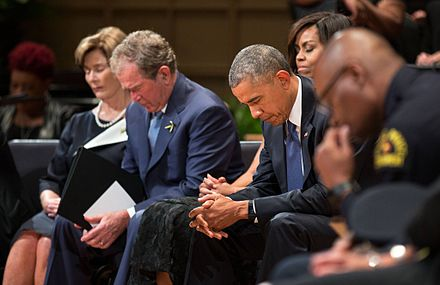 Bush with then-President Barack Obama in July 2016 2016 Dallas police shooting memorial service 2.jpg