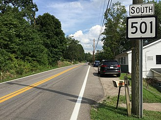 West Virginia Route 501 - View south along WV 501 at WV 622 in Tyler Heights
