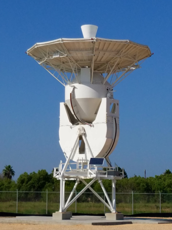 A tracking station antenna (pictured) installed at the SpaceX South Texas launch site 20170102 satellite tracking antenna 02JAN2017.png