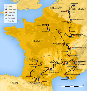 Map of France showing the showing the path of the race starting in Germany, going through Belgium and Luxembourg, then around France.