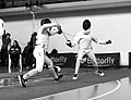 2nd Leonidas Pirgos Fencing Tournament. The fencer Nikolaos Theodoropoulos scores a touch.jpg