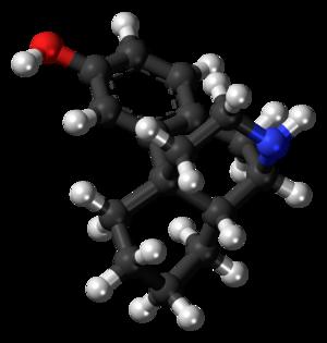 3-Hydroxymorphinan - Image: 3 Hydroxymorphinan molecule ball