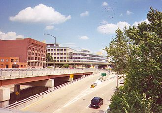 Interstate 376 - I-376 eastbound in downtown Pittsburgh; today the exit pictured is exit 71A