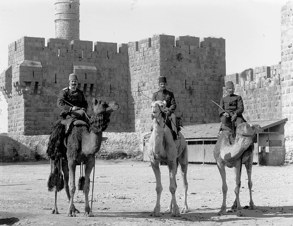 3 Turk. officers on camels before Tower of David. matpc.08139