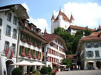 Thun - Castle Thun over City Hall Square