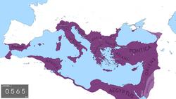 L'Empire byzantin dans sa plus grande étendue depuis la chute de l'Empire romain d'Occident, sous Justinien Ier en 555 après JC.