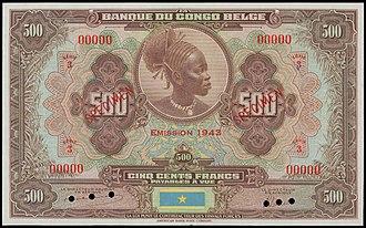 Congolese franc - Image: 500 Belgian Congo francs 1943