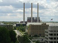 The former Oldsmobile Headquarters and the Otto Eckert Power Station