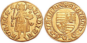 Sigismund, Holy Roman Emperor - Gold coin of Sigismund of Hungary with his coat of arms (right), and the image of the King Saint Ladislaus I of Hungary (left).