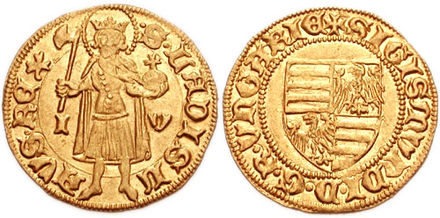 Gold coin of Sigismund of Hungary with his coat of arms (right), and the image of the King Saint Ladislaus I of Hungary (left). 765572.jpg