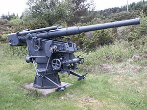 8.8 cm SK C/30 naval gun - A restored gun preserved at Fjell Fortress in Norway