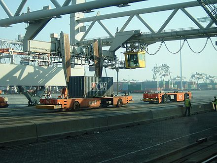 Unmanned vehicles handle containers at Europe Container Terminals (ECT), the largest container terminal operator in Europe. 9-028 Rotterdam ECT.jpg