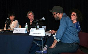 Lynne Tillman - From left to right: Xiaolu Guo, Robie Harris, Rakesh Satyal and Tillman speaking on the effect of government surveillance on author self-censorship, with other authors at the 2014 Brooklyn Book Festival