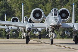 A-10C Thunderbolt II aircraft assigned to the 74th Fighter Squadron taxi at Moody Air Force Base during 2017.