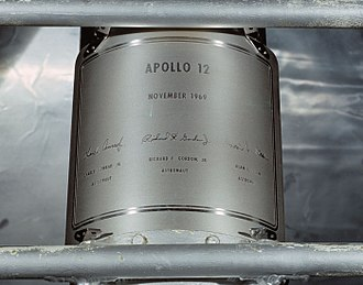 Apollo 12 - Replica of the plaque attached to the Apollo 12 LM