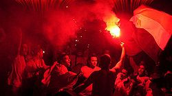 A group of Al-Ahly fans celebrating after their club's victorious campaign at the CAF Champions League.