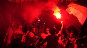Ultras Ahlawy - Utras Ahlawy members participate in street celebrations after El-Ahly won the 2005 CAF Champions League final.