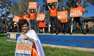 Fossil fuel divestment - In October 2014, more than 82% of ANU students voted for full fossil fuel divestment