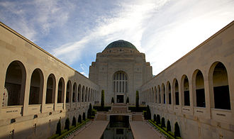 Military history of Australia - The interior courtyard of the Australian War Memorial in Canberra. Almost 877,000 people visited the Australian War Memorial during 2009–10 and another 204,000 visited its travelling exhibitions.