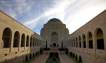 The interior courtyard of the Australian War Memorial in Canberra. Almost 877,000 people visited the Australian War Memorial during 2009-10 and another 204,000 visited its travelling exhibitions. AWM canberra 1.jpg