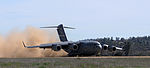 A C-17 Globemaster III cargo plane from Travis Air Force Base, lands during the Army Reserve Warrior Exercise at Schoonover Army Assault Strip, Fort Hunter Liggett, Calif., March 19, 2013 130319-A-VX503-081.jpg
