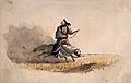 A Chinese soldier bearing weapons on his back, riding a horse Wellcome V0037647.jpg