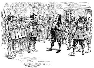 Bacon's Rebellion - Governor Berkeley baring his breast for Bacon to shoot after refusing him a commission (1895 engraving)