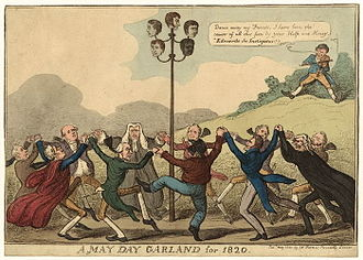 Cato Street Conspiracy - Print from May 1820 showing establishment figures dancing around a maypole (a reference to the date of the conspirators' execution, May Day 1820).  On top of the maypole are the heads of: John Thomas Brunt (1782–1820); William Davidson (1781–1820); James Ings (1794–1820); Arthur Thistlewood (1774–1820); and, Richard Tidd (1773–1820).