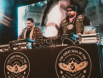 A Tribe Called Red - The group in 2018, performing at the Commodore in Vancouver, Canada