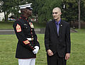 A U.S. Marine first sergeant, left, speaks with honorary Marine Daran Wankum following a wreath laying ceremony at the Marine Corps War Memorial in Arlington, Va, June 13, 2013 130613-M-KS211-016.jpg