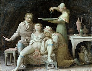Women's medicine in antiquity - An oil painting of a birthing scene, circa 1800.