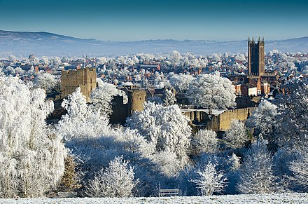 The skyline of Ludlow, one of south Shropshire's market towns, dominated by its sizeable castle and church. A frosty Ludlow.jpg