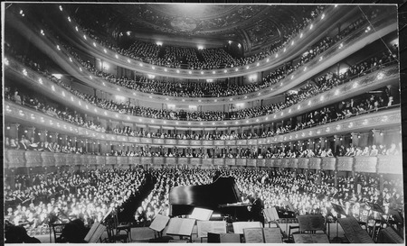 A full house, seen from the rear of the stage, at the Metropolitan Opera House for a concert by pianist Josef Hofmann, 1 - NARA - 541890.tif