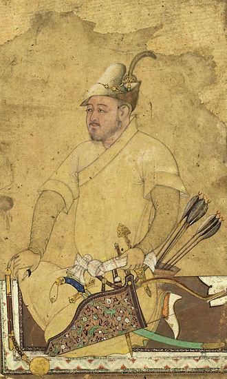 Shamshir - Uzbek warrior armed with bow and arrows, khanjar, mace, and a Shamshir.