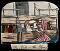 A man is dipping cloth into a large dyeing vat. Coloured lit Wellcome V0039785.jpg
