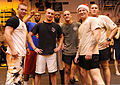 A team of U.S. Sailors pose for a photo after winning a dodge ball tournament onboard the amphibious assault ship USS Makin Island (LHD 8) during a Moral, Welfare and Recreation fun day in the Philippine Sea 111211-N-EK905-273.jpg