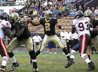 Effect of Hurricane Katrina on the New Orleans Saints - Saints quarterback Aaron Brooks during a home game at Tiger Stadium against the Chicago Bears in November 2005.