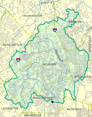 Aberjona River - USGS map of the river's watershed area