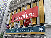 Accenture's banner hanging on New York Stock Exchange (NYSE) building for its initial public offering on 19 July 2001.