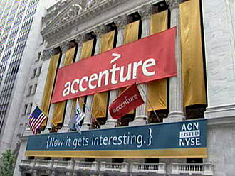 Accenture - Accenture's banner hanging on the New York Stock Exchange (NYSE) building for its initial public offering on 19 July 2001.