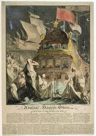 Edward Vernon - The Ghost of Hosier appears to Vernon as he rests at anchor after his victory. Coloured etching by C. Mosley, July 1740. National Maritime Museum, Greenwich (PW 3959)