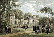 Lithographie représentant le manoir entouré de son parc avec des groupes de personne s'y promenant