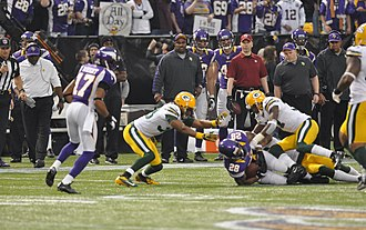 2012 Green Bay Packers season - Image: Adrian Peterson tackled 2012 12 30
