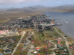 Aerial view o Stanley, Falkland Islands